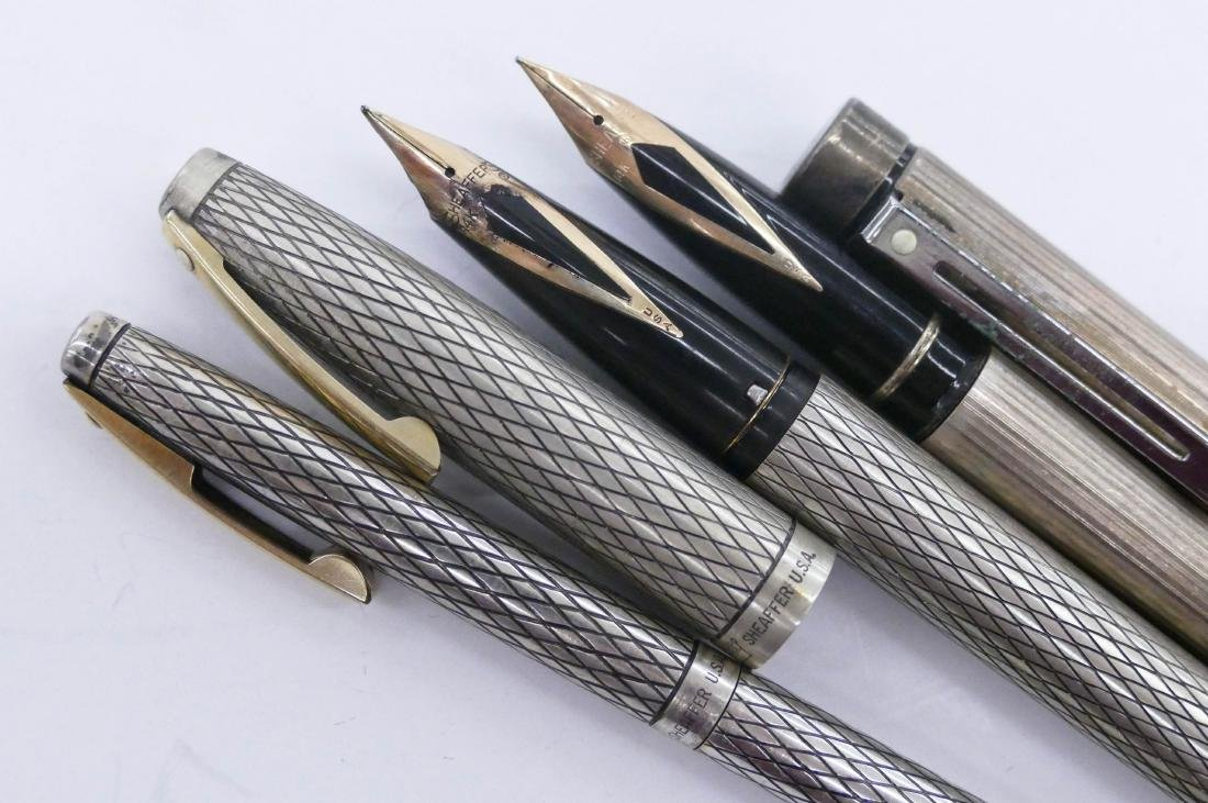 3pc Sheaffer Imperial Sterling Fountain Pens. Includes - 2