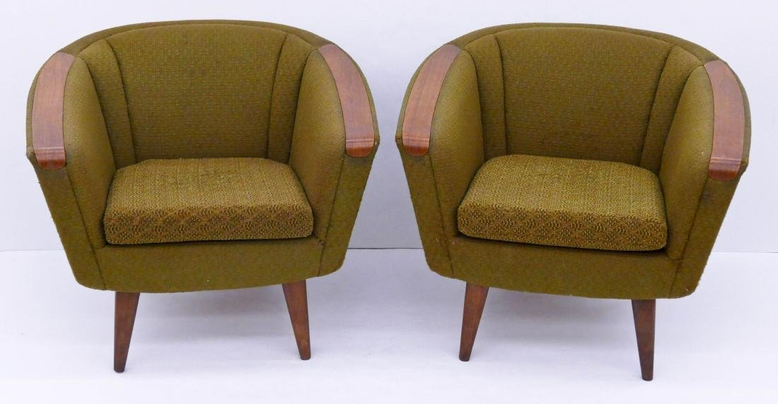 Pair P.I. Langlo Norwegian Teak Upholstered Lounge