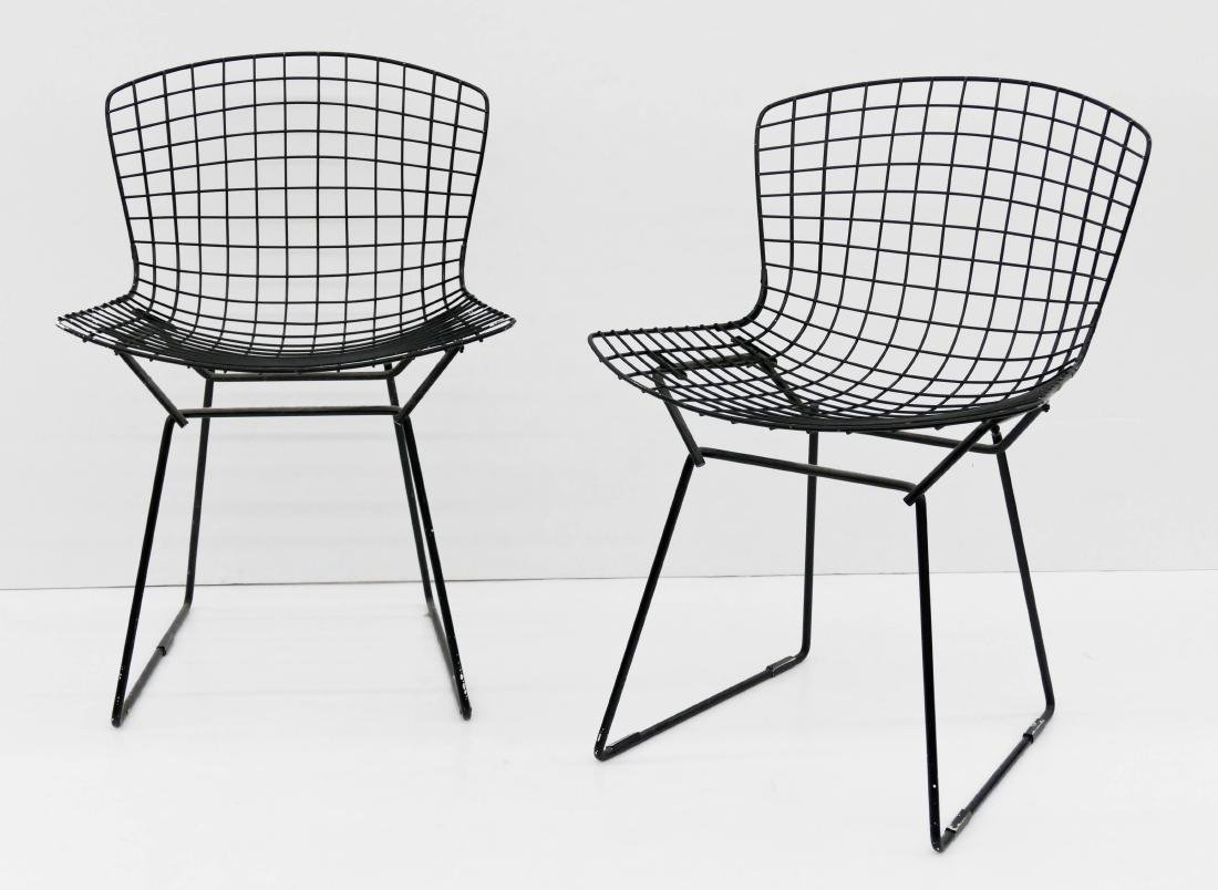 Pair Harry Bertoia for Knoll Black Wire Chairs