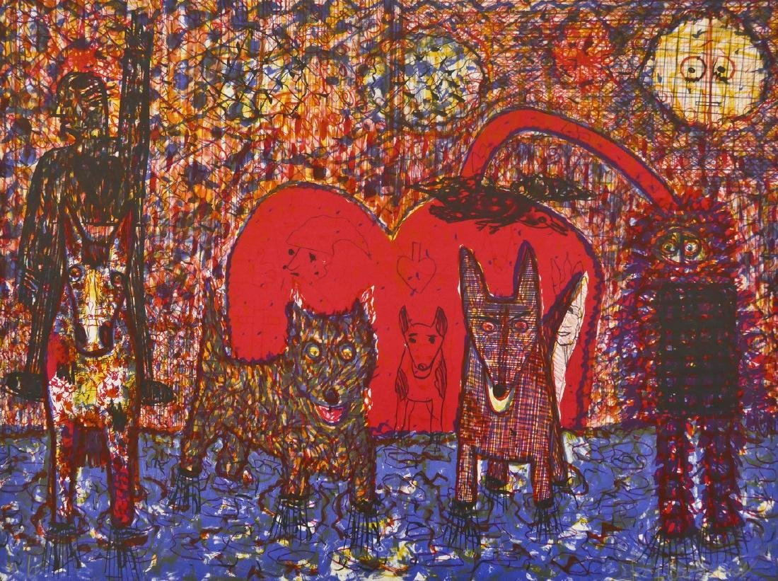 Roy De Forest (1930-2007 American) Red Dogs Lithograph