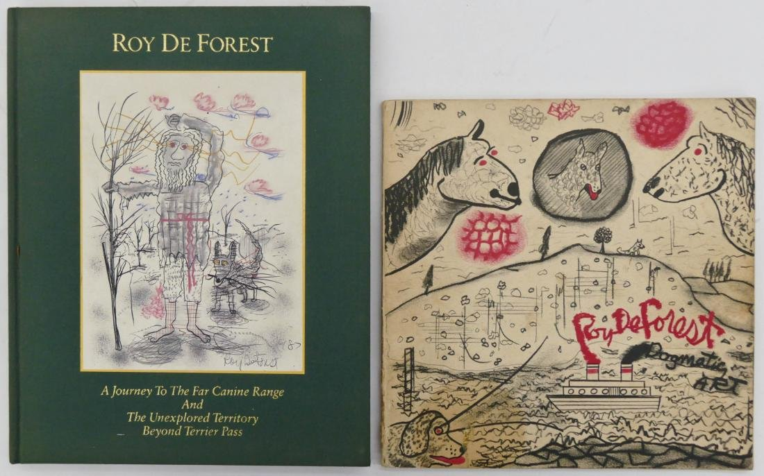 2pc Roy De Forest Books with Drawing. Includes ''A