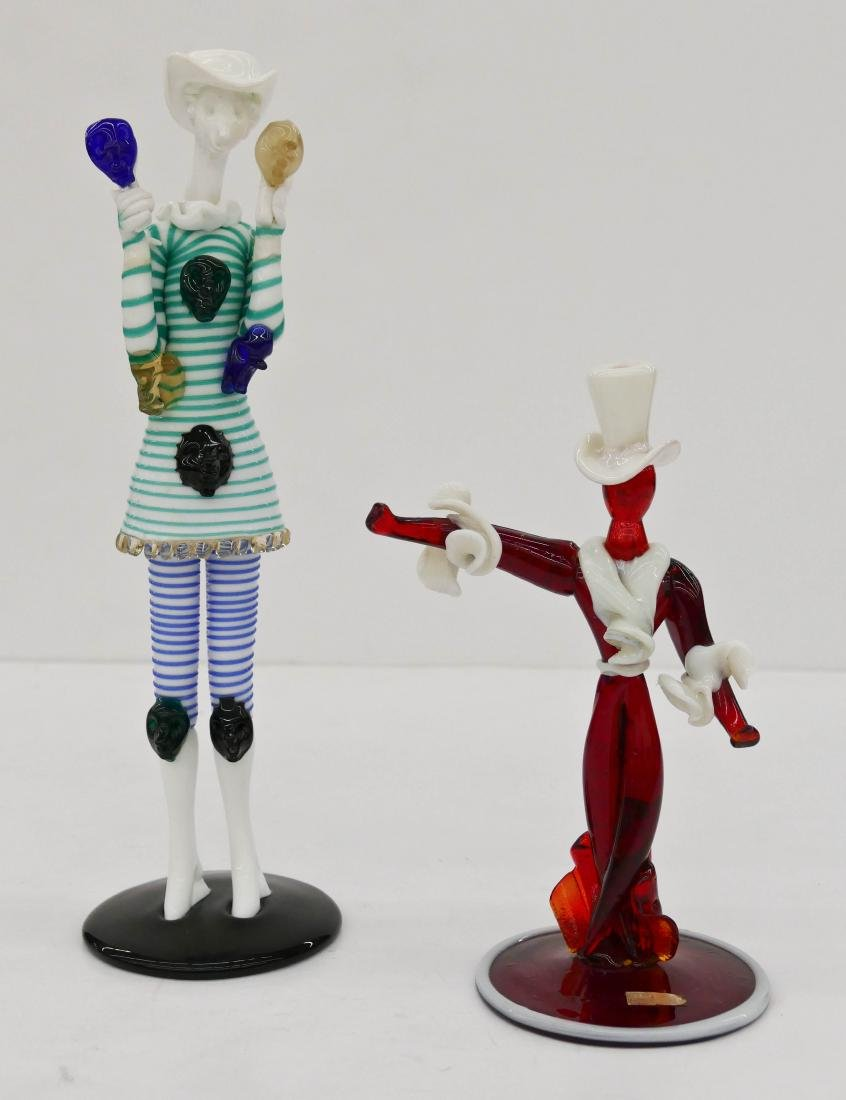 2pc Venini & Seguso Murano Glass Figurines. Includes a