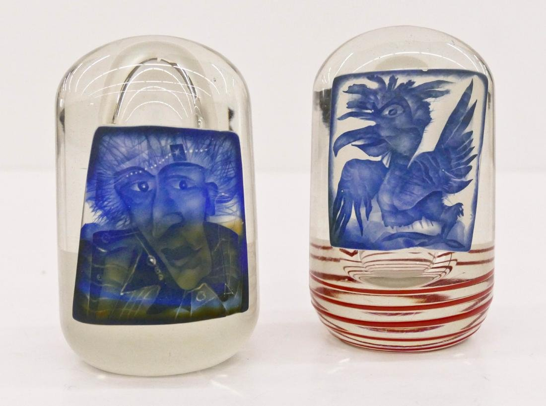2pc Stanislaw Borowski (b.1944 German) Man & Bird Glass