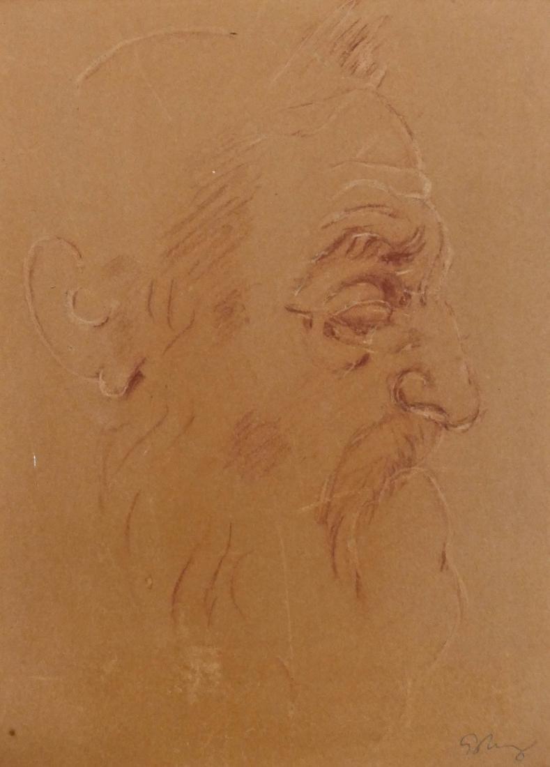 Mark Tobey (1890-1976 Washington) Male Portrait Drawing