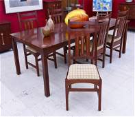 7pc Contemporary Stickley Marquetry Inlaid Dining Set.