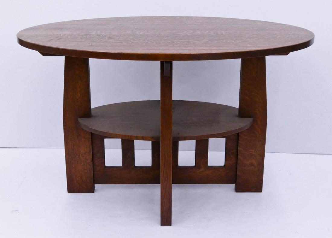 Warren Hile Studio Oak Oval Library Table