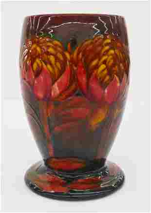 Moorcroft ''Waratah'' Flambe Glazed Pottery Vase