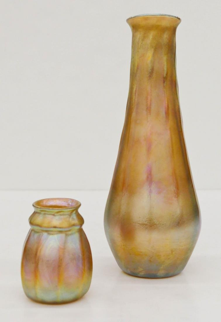 2pc L.C. Tiffany Favrile Gold Iridescent Glass Vases