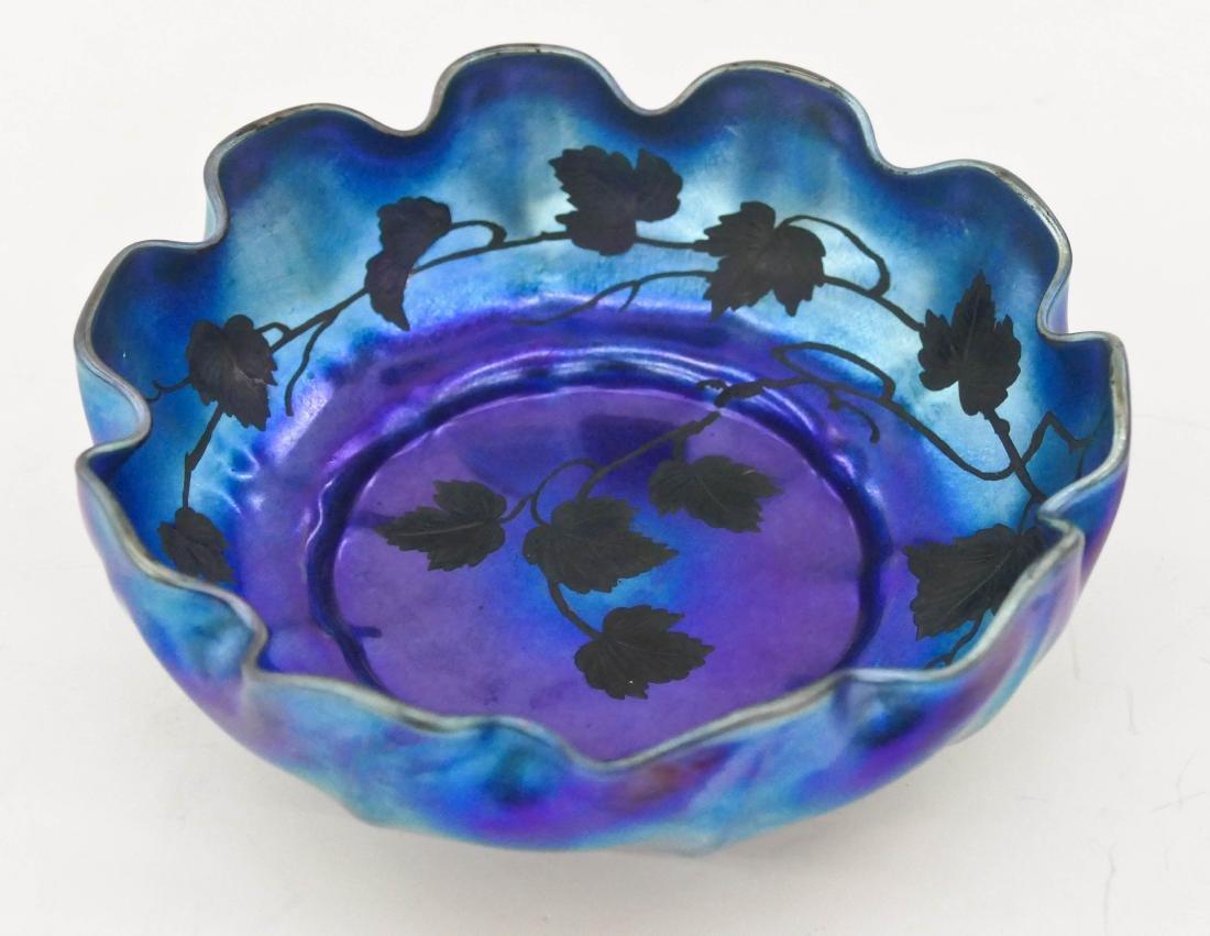 L.C. Tiffany Favrile Blue Leaf Intaglio Cut Bowl