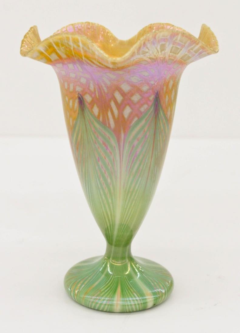 Quezal Pulled Feather Floriform Vase 7''x5''. Gold