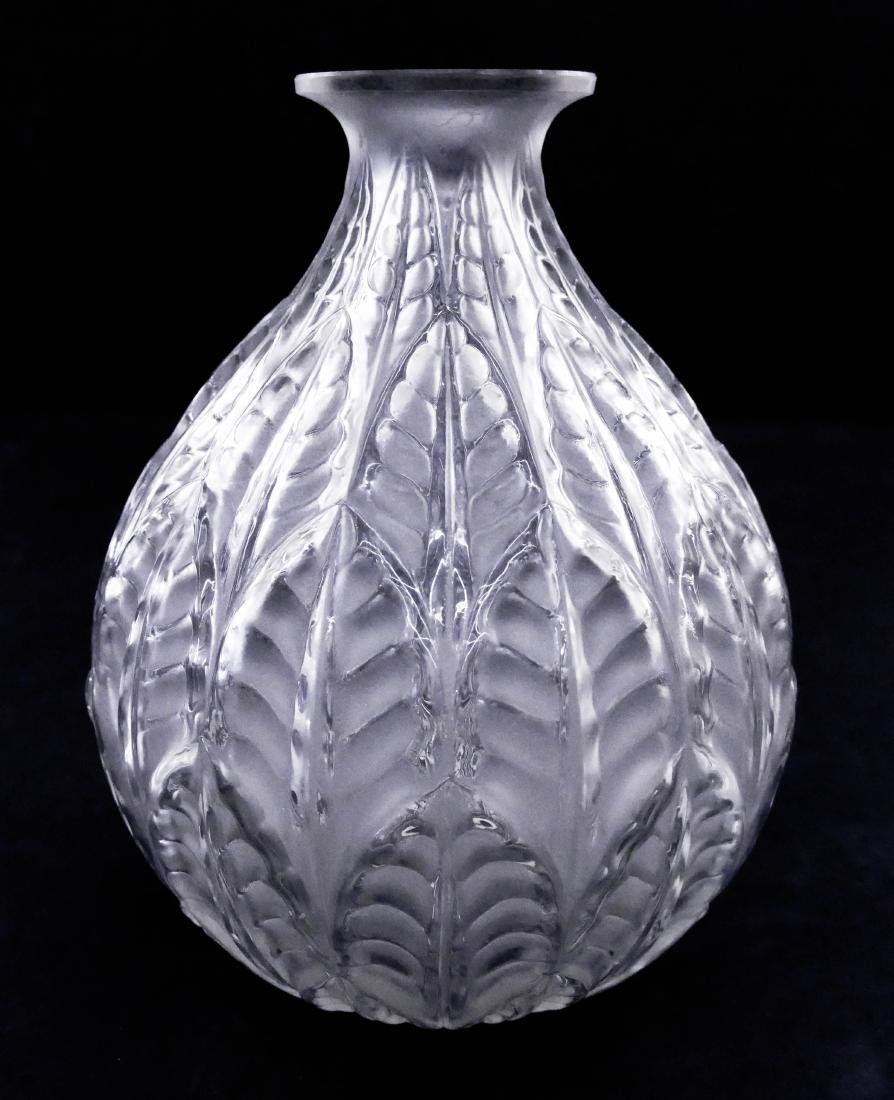 R. Lalique ''Malesherbes'' Frosted Glass Vase 9''x7''.