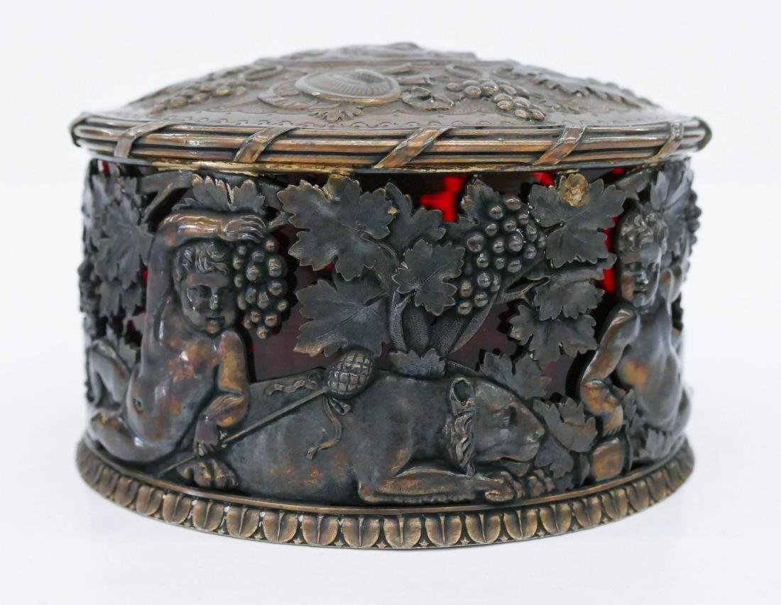 George III Silver Bacchus Covered Box by Benjamin &