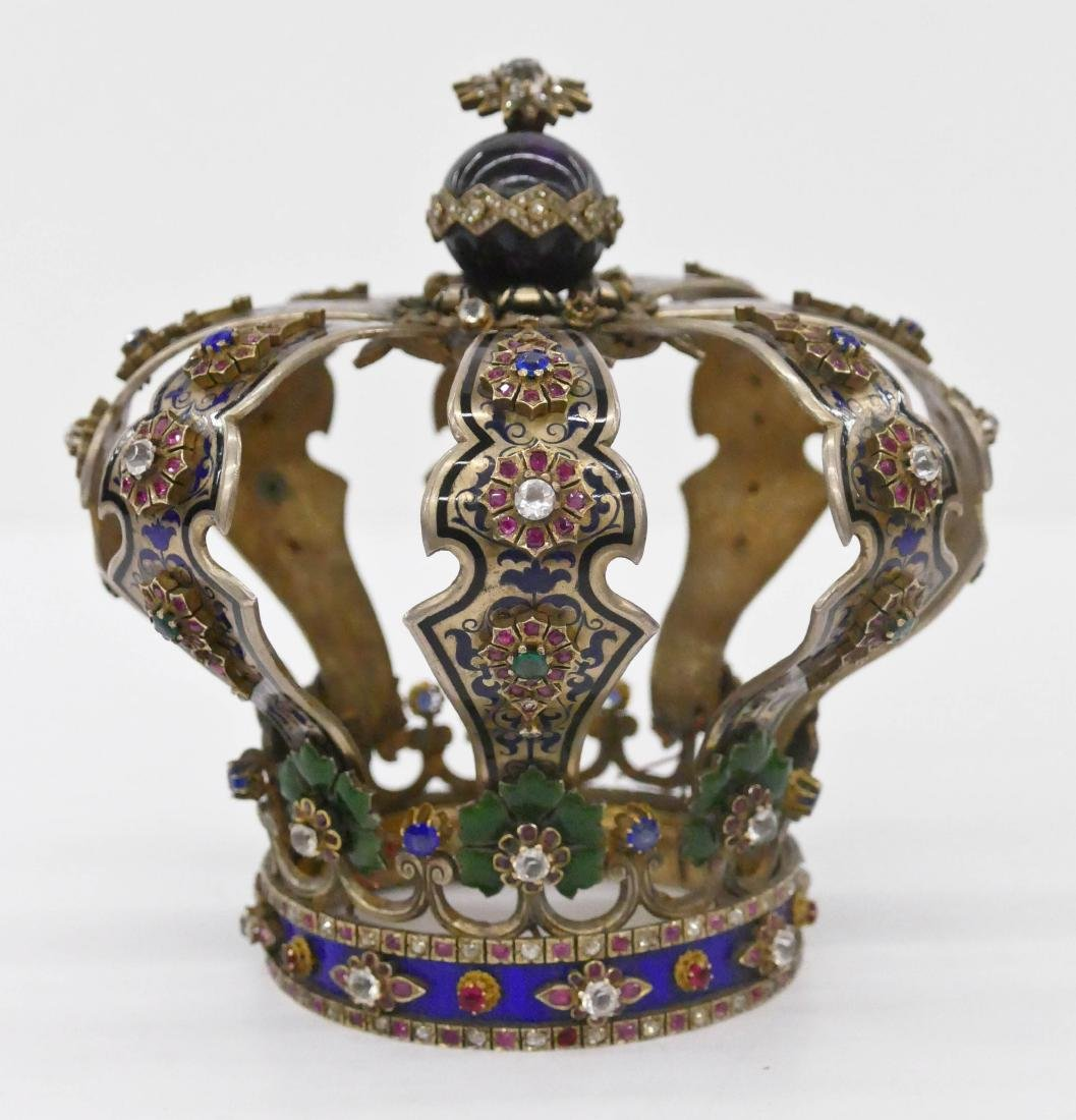 Impressive Judaic Jeweled & Enameled Silver Torah Crown
