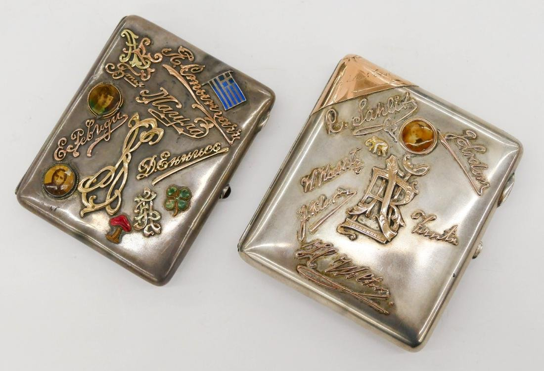 2pc Russian Silver Cigarette Cases 4''x3.5'' Each. Two