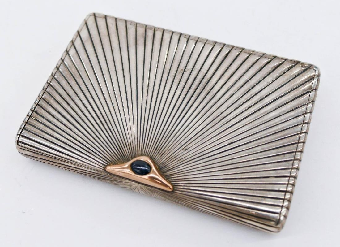 Russian Art Deco Silver Cigarette Case 3.25''x4.5''.