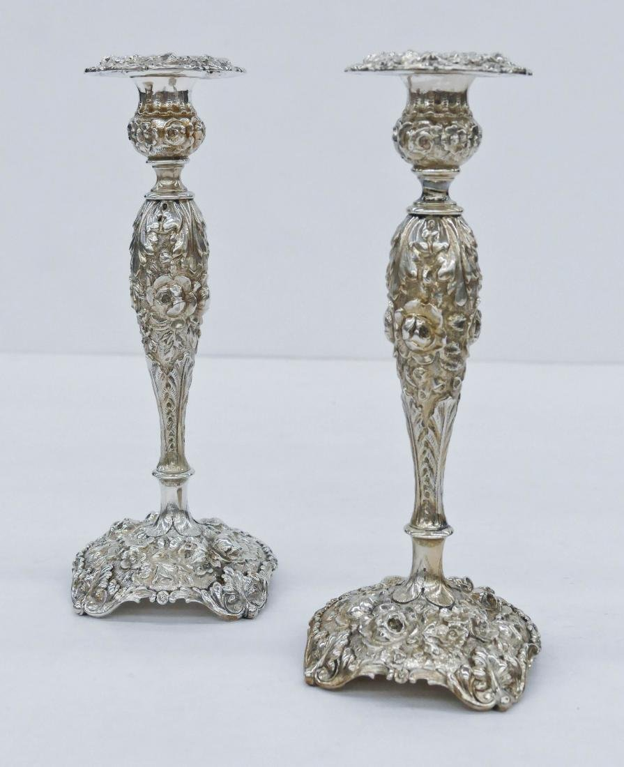 Pair Fine Stieff Repousse Sterling Table Candlesticks