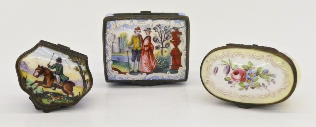 3pc French Enamel Pill Boxes 1.5'' to 2'' Long.