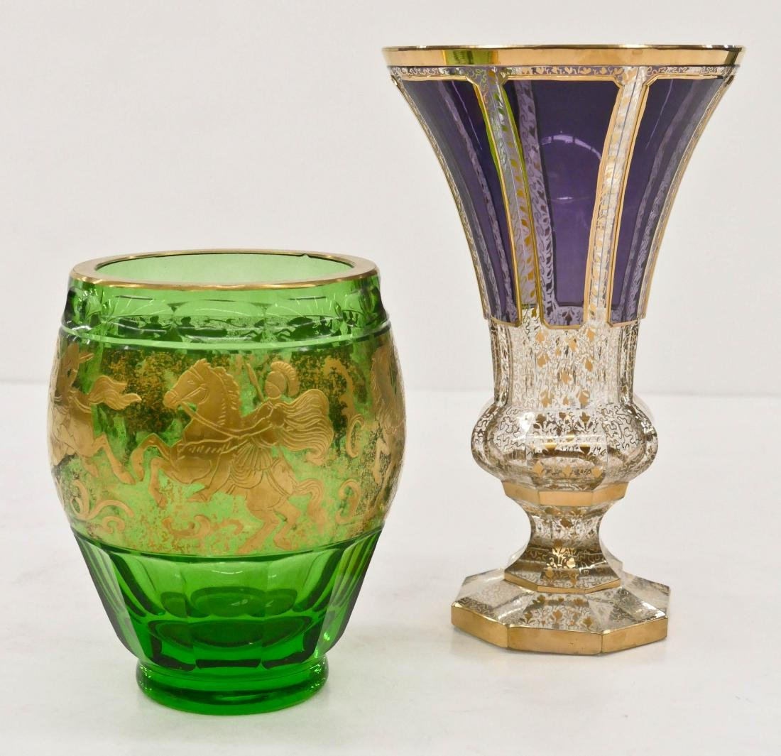 2pc Moser Gilt & Cut Glass Vases. Includes a trumpet