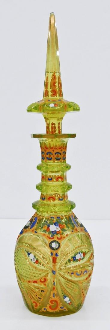 Bohemian Enameled Vaseline Glass Decanter 19.5''x5.5''.