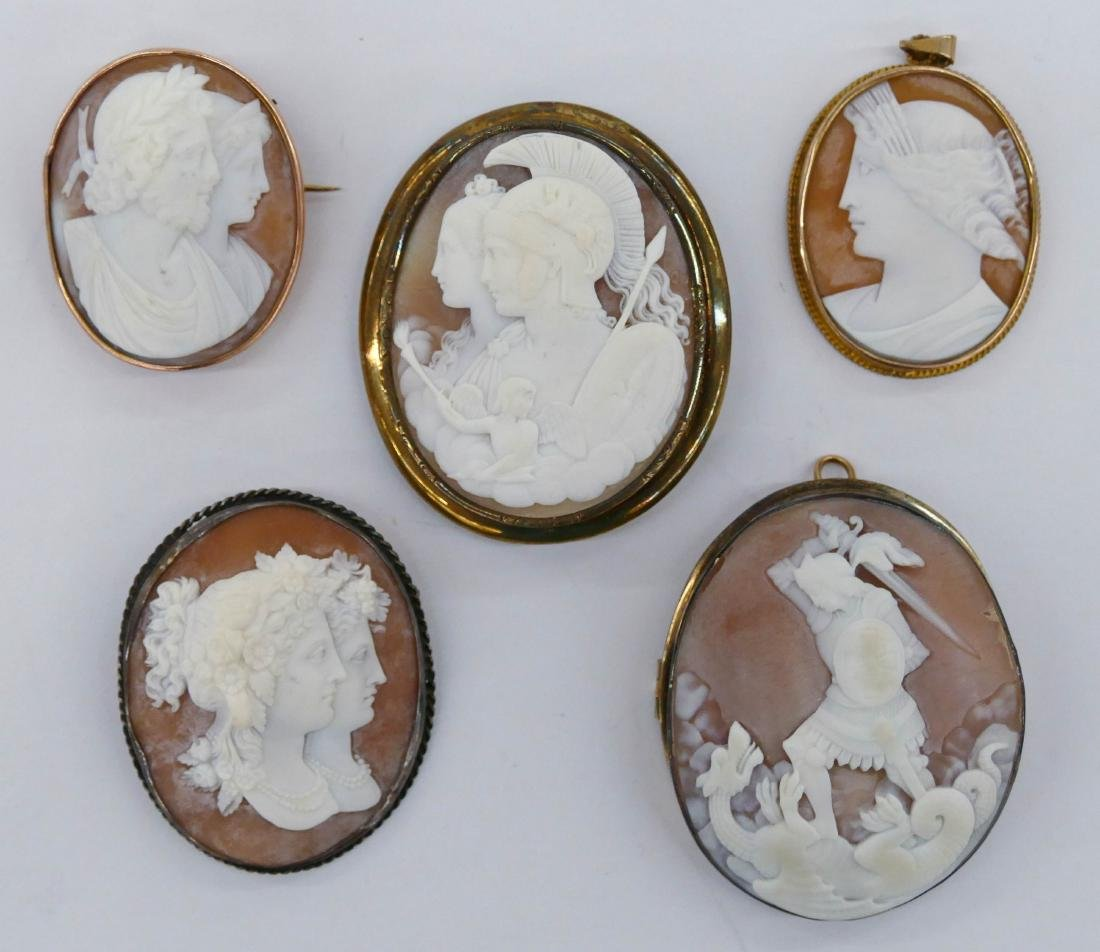 5pc Renaissance Revival Shell Cameo Brooches. Sizes