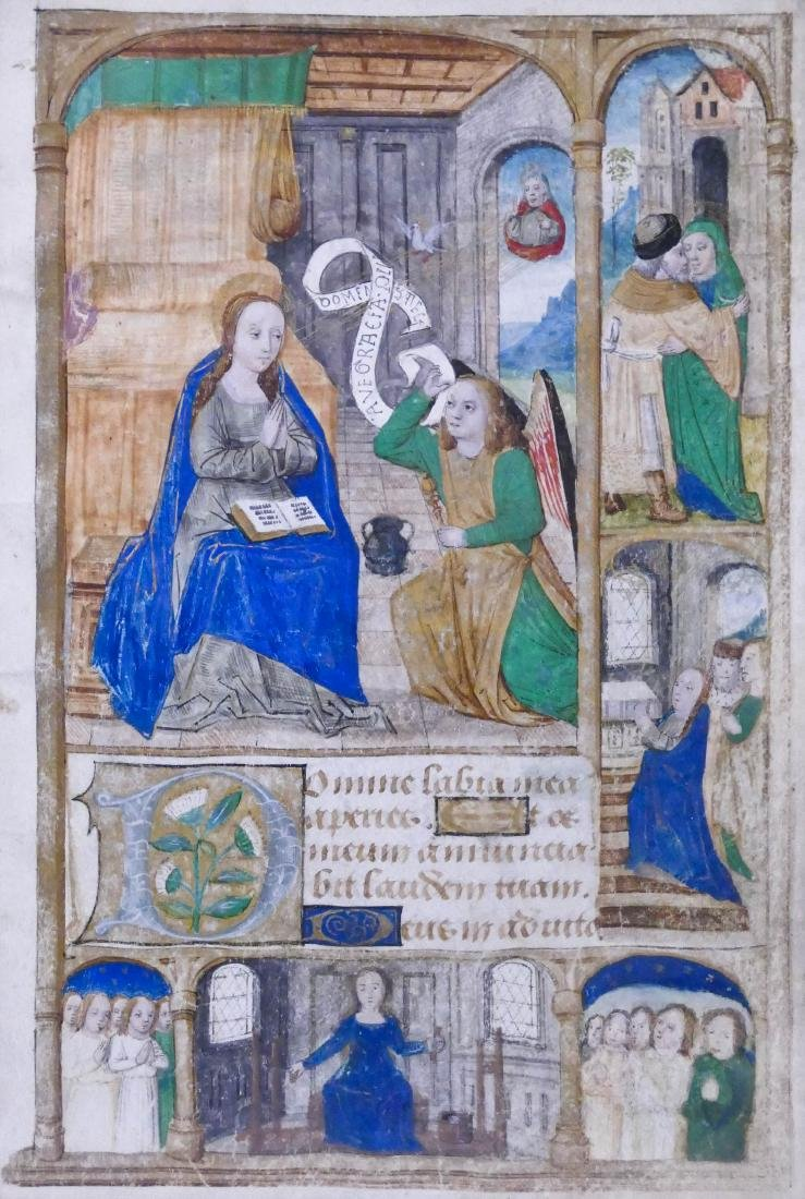 Book of Hours 16th Cent. Manuscript Page 6.5''x4.5''