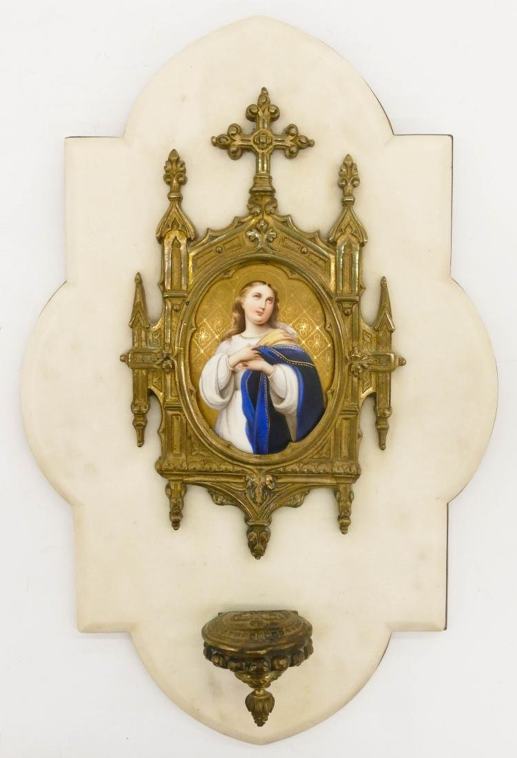 Gothic Revival Porcelain Plaque Holy Water Font