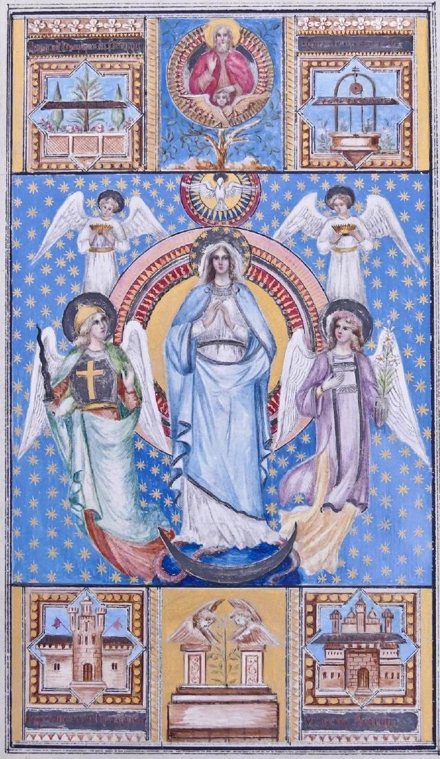 Fine Religious Illuminated Manuscript Page on Vellum