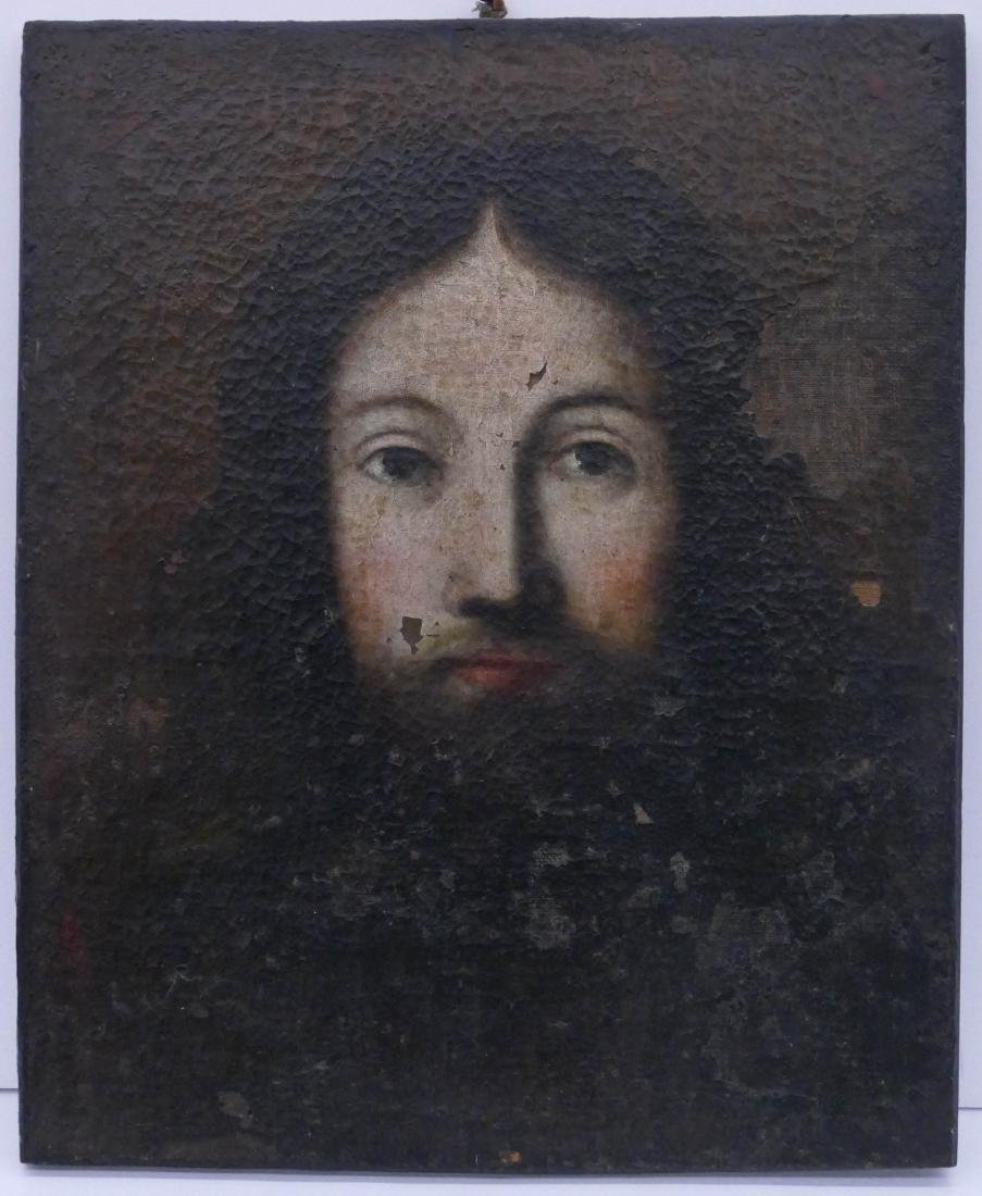 Italian School 17th Cent. Christ Portrait Oil on Canvas