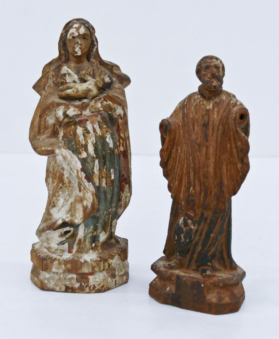 2pc Spanish Colonial Carved Santos Figures. Includes a