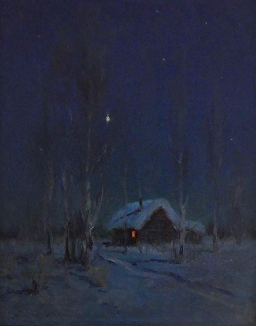 Sydney Laurence (1865-1940 Alaska) Winter Cabin,