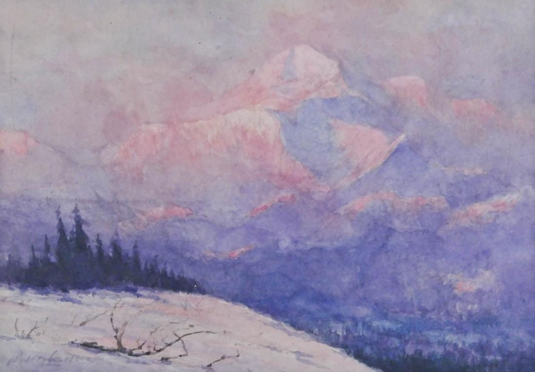 Sydney Laurence (1865-1940 Alaska) Mt. McKinley, Sunset