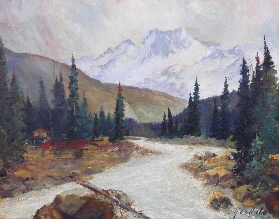 Harvey Goodale (1900-1980 Alaska) River Landscape Oil