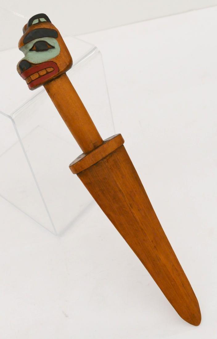 Northwest Coast Bear Dagger Painted Cedar 17''x3''. A