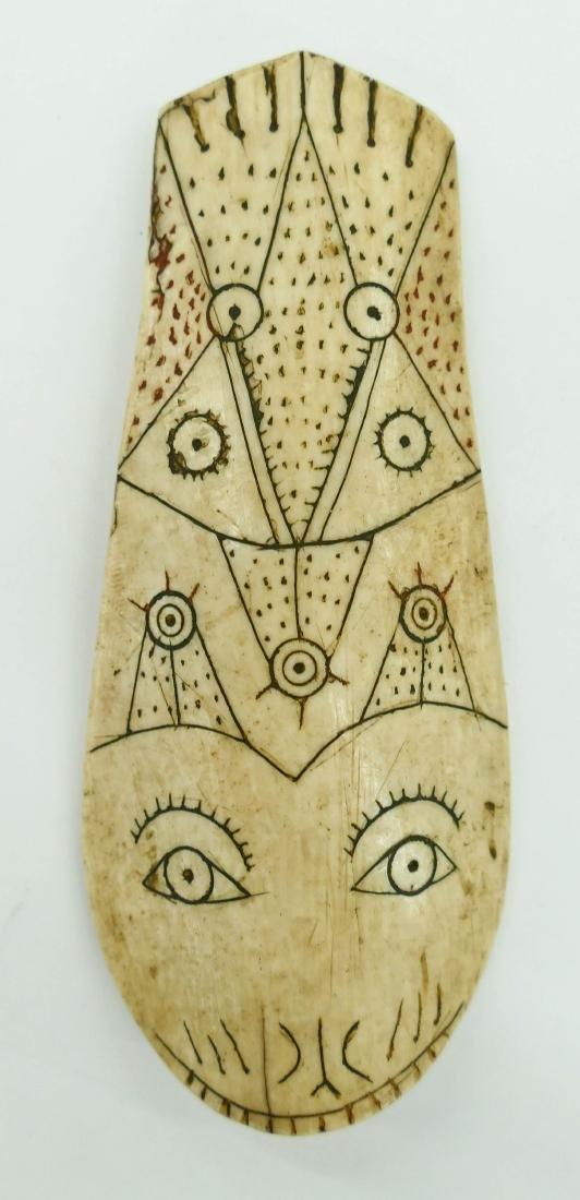 Antique Eskimo Whale Bone Scraper 4.5''x2''.