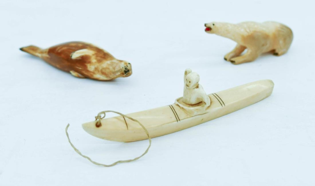 3pc Early Eskimo Small Carvings. Includes a bear with