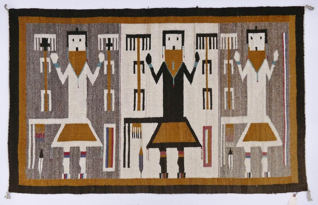 2pc Navajo Yeh Wool Rugs. Includes a polychrome rug