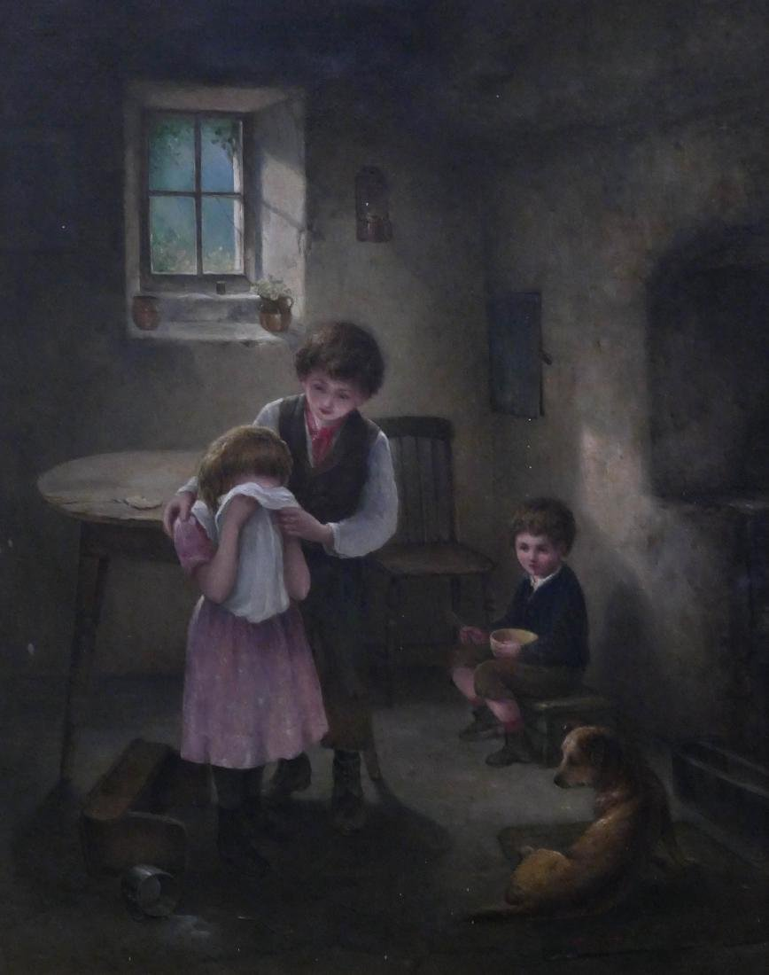 James K. Makin (fl.1873-1906 British) ''Don't Cry'' Oil