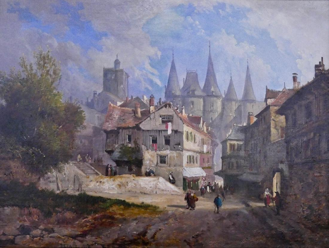 Alexandre DeFaux (1826-1900 French) French Town Scene