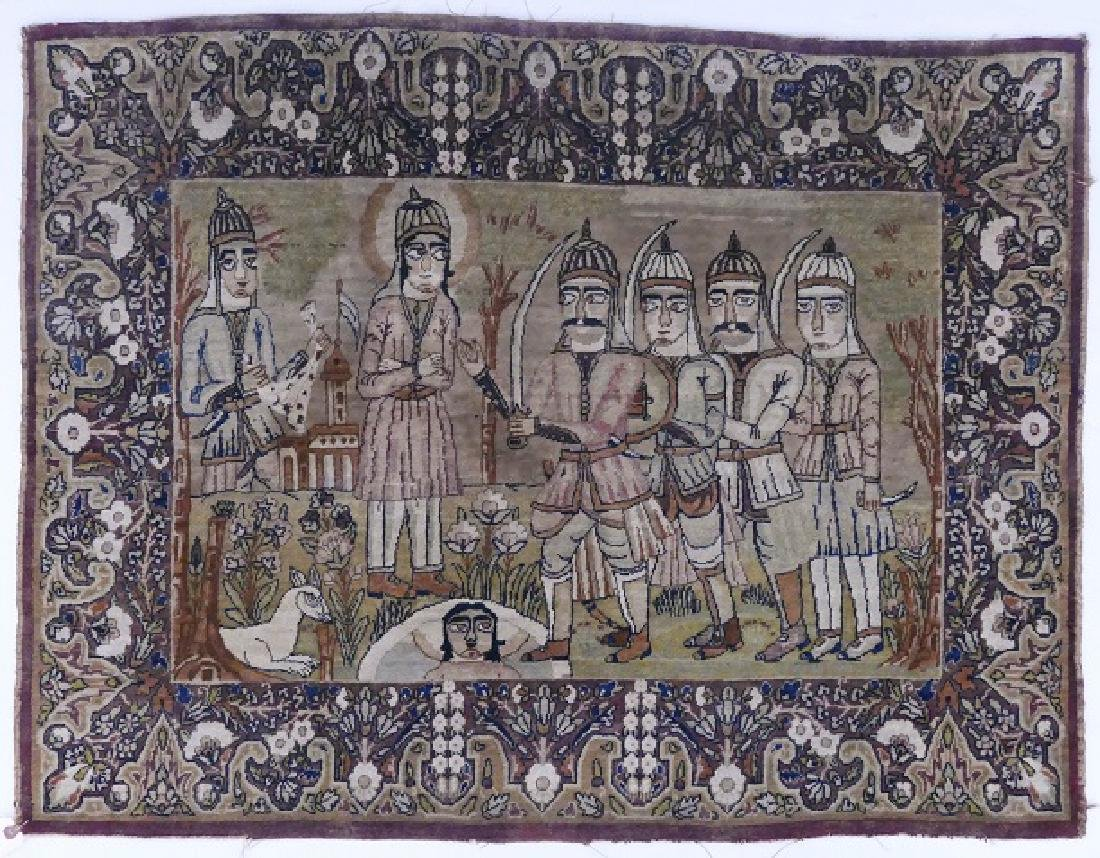 Antique Persian Pictorial Rug with Warriors