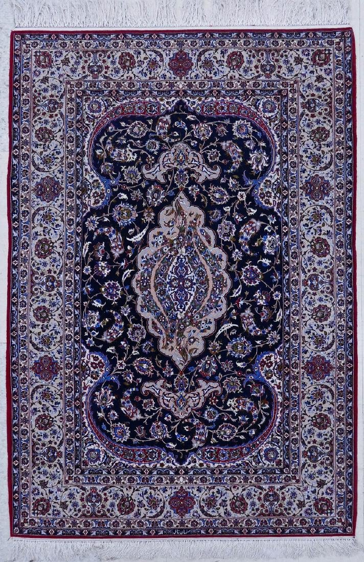 Fine Persian Isfahan Oriental Rug 5'x8'. Intricate silk