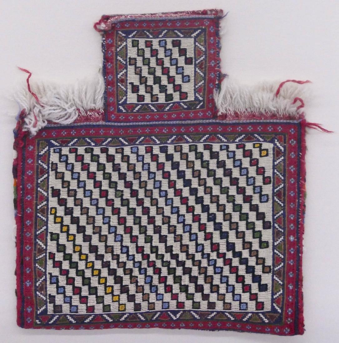 Persian Afshar Soumak Salt Bag in Plexiglass Frame