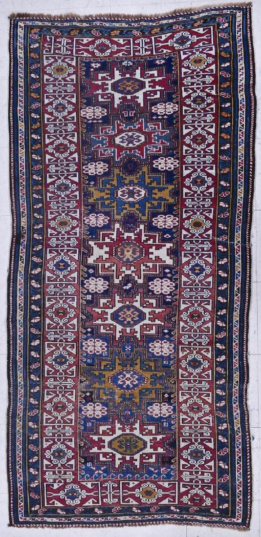 Antique Lesghi Star Caucasian Long Rug 7'5''x3'5''.