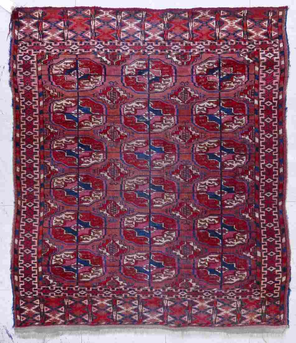 Antique Bokhara Oriental Scatter Rug 3'2''x3'11''.