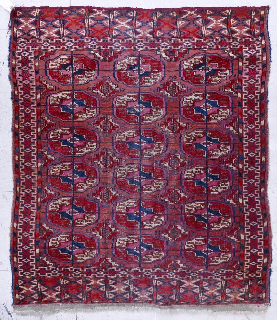 Antique Bokhara Oriental Scatter Rug 3'2''x3'11''.