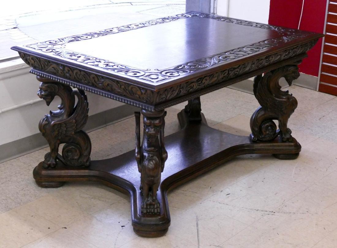 Antique R.J. Horner Oak Griffin Library Table