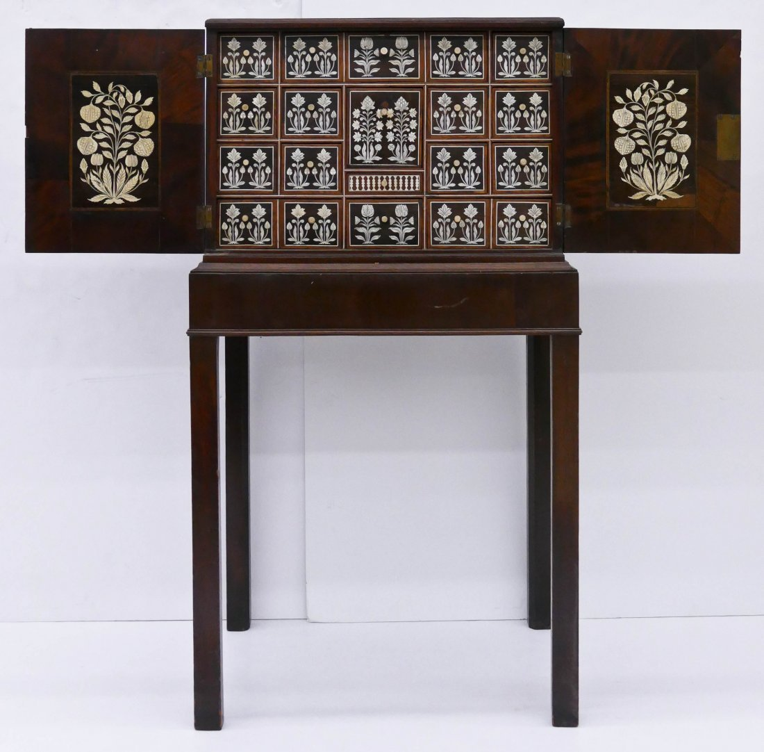 Fine Indo-Portuguese Inlaid Collector's Cabinet on Stan