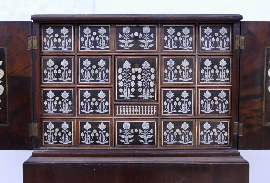 Fine Indo-Portuguese Inlaid Rosewood Collector's Cabine - 2