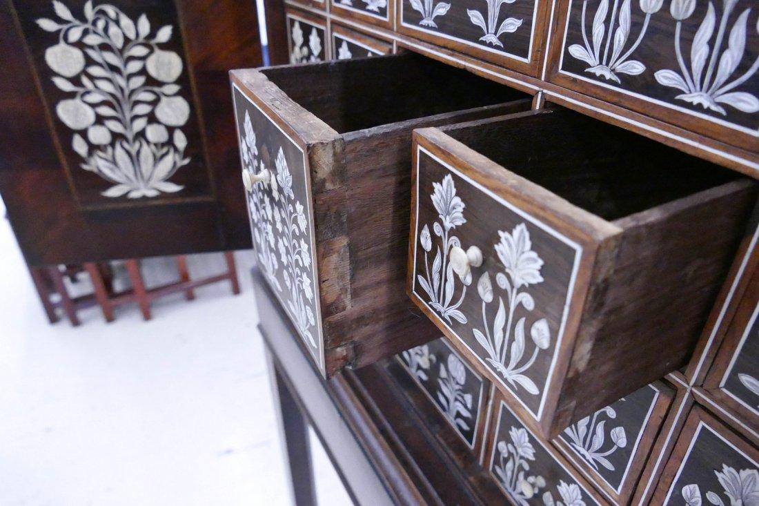 Fine Indo-Portuguese Inlaid Rosewood Collector's Cabine - 9