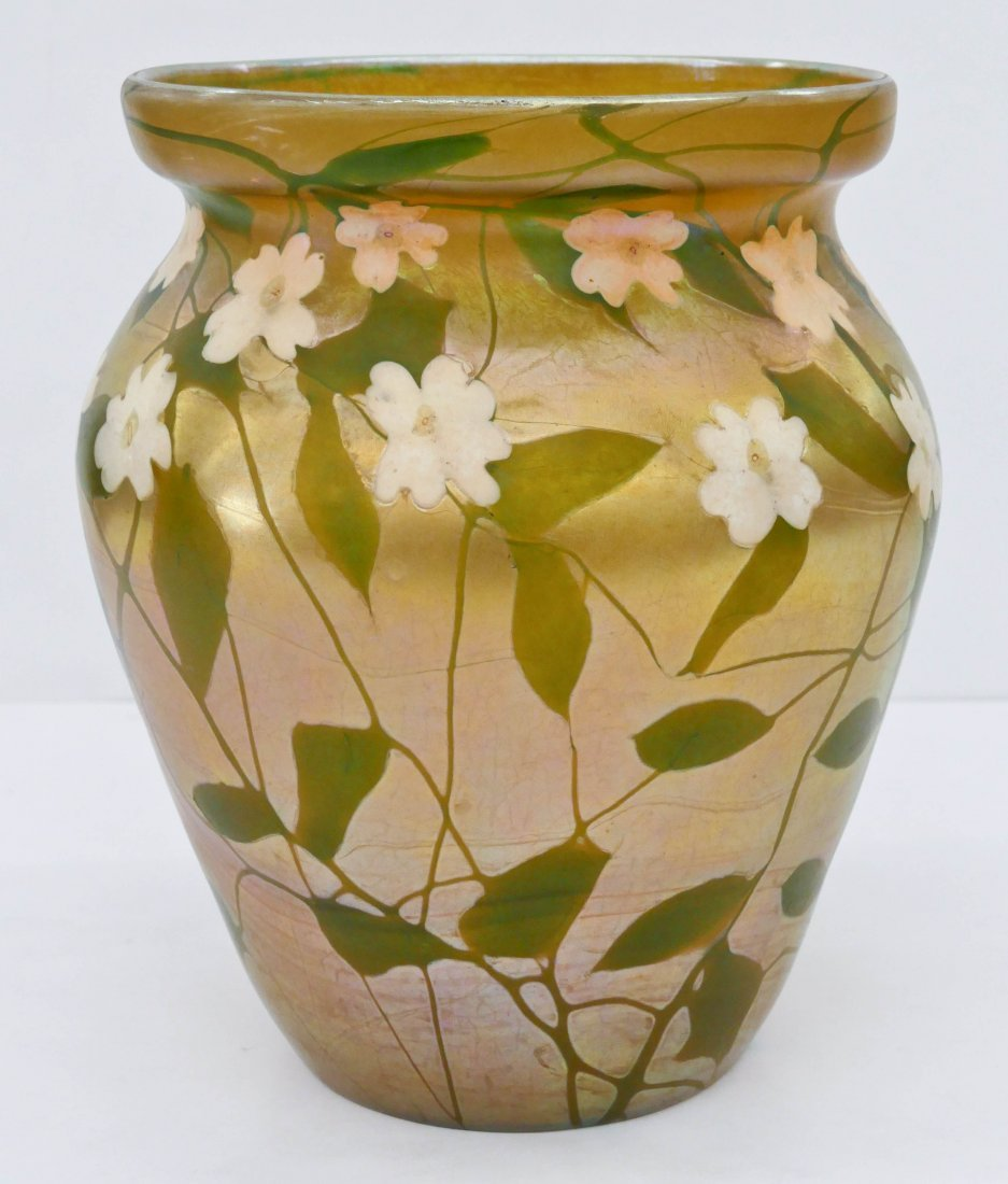 Monumental Louis C. Tiffany Favrile Floral Glass Vase 1