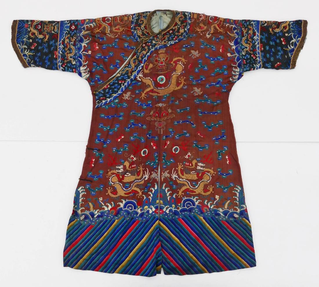 Chinese Imperial Dragon Silk Court Robe 52''x62''.